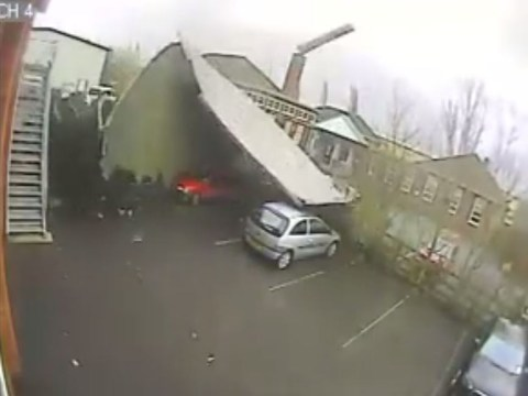 Video: High winds tear roof from council property in Shropshire into car park next door