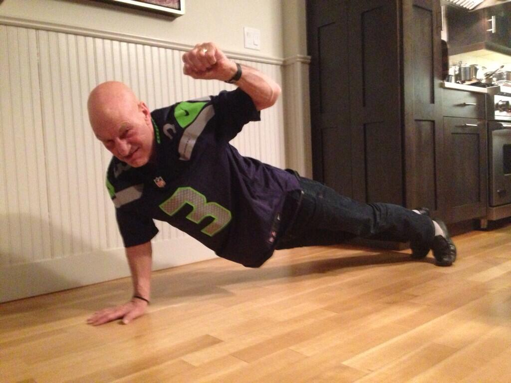 Patrick Stewart celebrates the Super Bowl with yet another awesome selfie