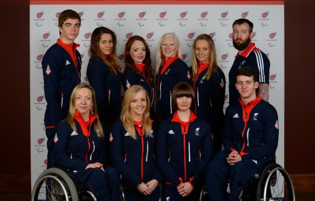 GLASGOW, SCOTLAND - JANUARY 23 : Alpine Skiing team back left to right James Whitley, Caroline Powell (Guide to Jade Etherington), Jade Etherington, Kelly Gallagher, Charlotte Evans (Guide to Kelly Gallagher) and Mick Brenna. With front left to right Anna Turney, Rachael Ferrier (Guide to Millie Knight), Millie Knight and Ben Sneesby, pose for a picture during the Paralympic Team GB Launch for Sochi at the Radisson Blu Hotel, Glasgowat the Radisson Blue hotel on January 23, 2014 in Glasgow, Scotland. Mark Runnacles/Getty Images