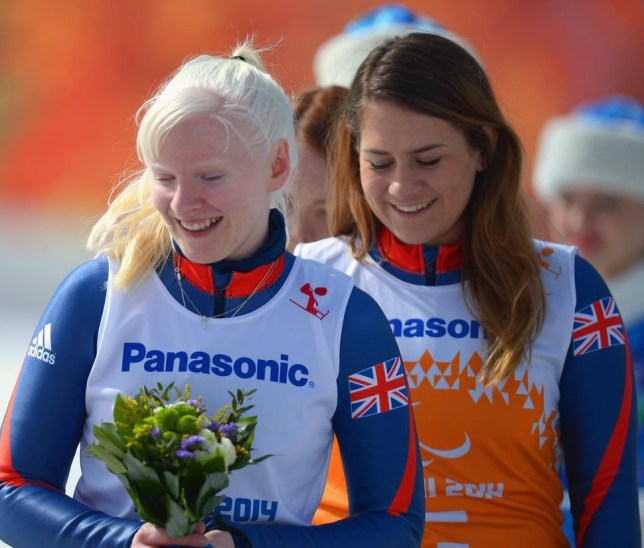Gold medallist Kelly Gallagher and guide Charlotte Evans (Picture: Getty Images)