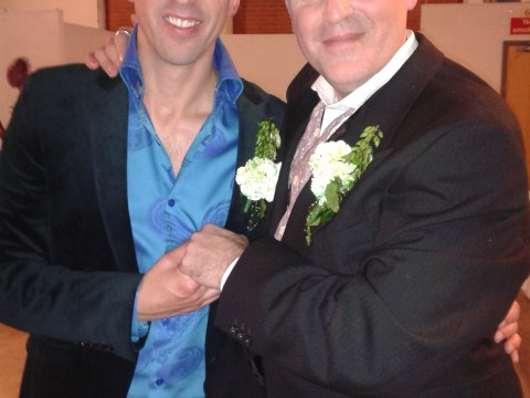 Gay grooms make a song and dance out of wedding by turning it into musical