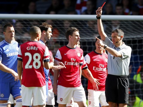 Oops! Referee Andre Marriner sends off Arsenal's Kieran Gibbs instead of Alex Oxlade-Chamberlain against Chelsea