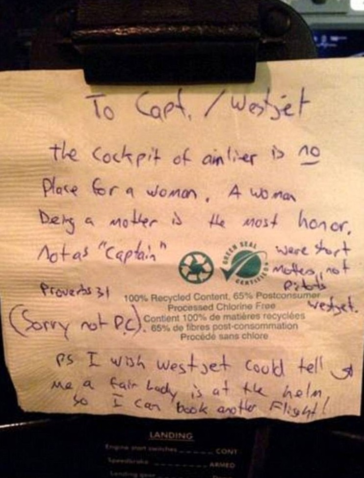 WestJet Airlines: Female pilot Carey Steacy stunned by sexist note