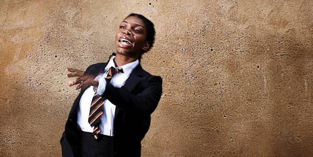 Coel in character as Tracey Gordon, the fierce but vulnerable schoolgirl of Chewing Gum Dreams (Picture: Oliver Prout)
