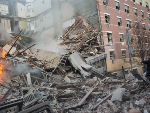 Two New York apartment blocks crumble to dust in seconds as giant gas blast claims lives