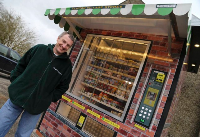 Peter Fox at the vending machine today. The answer to bringing shops back to villages and remote communities may not be the one you¿d automatically think of.  http://www.fstoppress.com/articles/clifton-stores/   Villagers in a small Derbyshire community - whose shop closed 13 years ago - no longer need to drive or catch a bus into town to top-up with their essential groceries. Instead, a giant vending machine, has been installed in the local pub car park. FULL COPY AVAILABLE HERE http://www.fstoppress.com/articles/clifton-stores/   All Rights Reserved - F Stop Press Ltd 01335 300098