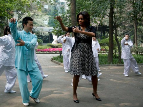 Pictures: Michelle Obama learns the way of the dragon