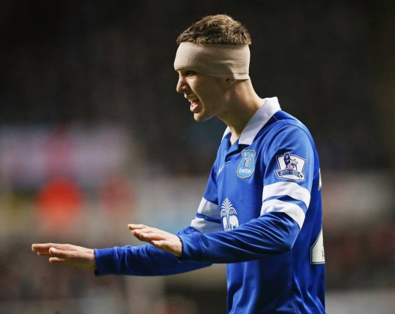 Ouch! Check out John Stones' massive head wound – stitched up in Everton blue