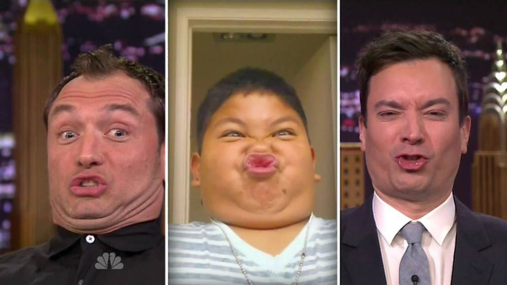 Jude Law like you've never seen him before as he ditches his good looks for a 'Funny Face Off' with Jimmy Fallon