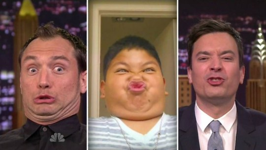 26 March 2014 - Los Angeles - USA  **** STRICTLY NOT AVAILABLE FOR USA ***  Jude Law and Jimmy Fallon have a 'Funny Face Off' on The Tonight Show. The British actor was left pulling a series of hilarious facial expressions after being challenged by host Fallon to the silly game. Earlier in the week Fallon had asked viewers to send in videos of their kids pulling funny faces but didn't tell them why. Then he picked several of the videos for the Funny Face Off game as he and Law tried to recreate the silly faces the kids had pulled. AFterwards Law joked he needed to get his double chin fixed. Law was on the show to promote his new movie Dom Hemingway and revealed to Fallon how he spent all of filming with a baby bottle teet shoved up one nostril to make it look like he had a broken nose.   XPOSURE PHOTOS DOES NOT CLAIM ANY COPYRIGHT OR LICENSE IN THE ATTACHED MATERIAL. ANY DOWNLOADING FEES CHARGED BY XPOSURE ARE FOR XPOSURE'S SERVICES ONLY, AND DO NOT, NOR ARE THEY INTENDED TO, CONVEY TO THE USER ANY COPYRIGHT OR LICENSE IN THE MATERIAL. BY PUBLISHING THIS MATERIAL , THE USER EXPRESSLY AGREES TO INDEMNIFY AND TO HOLD XPOSURE HARMLESS FROM ANY CLAIMS, DEMANDS, OR CAUSES OF ACTION ARISING OUT OF OR CONNECTED IN ANY WAY WITH USER'S PUBLICATION OF THE MATERIAL.    BYLINE MUST READ : NBC/XPOSUREPHOTOS.COM    PLEASE CREDIT AS PER BYLINE *UK CLIENTS MUST CALL PRIOR TO TV OR ONLINE USAGE PLEASE TELEPHONE  44 208 344 2007