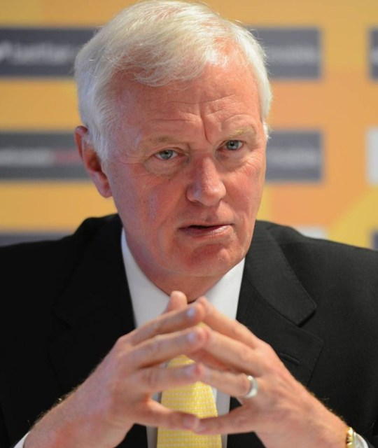 World Snooker chairman Barry Hearn speaks to the press during the Betfair World Snooker Championship at the Crucible Theatre in Sheffield, England.    SHEFFIELD, ENGLAND - APRIL 29:   (Photo by Michael Regan/Getty Images)