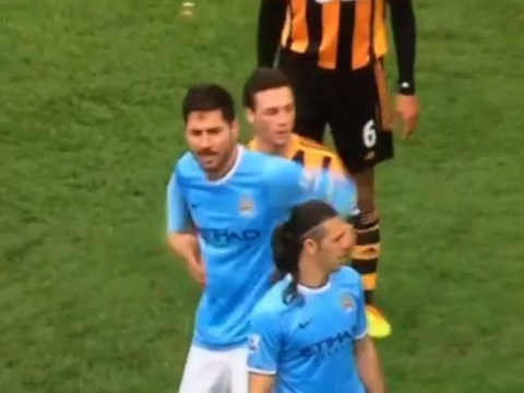Hull's James Chester caught tickling Manchester City's Javi Garcia during weekend clash
