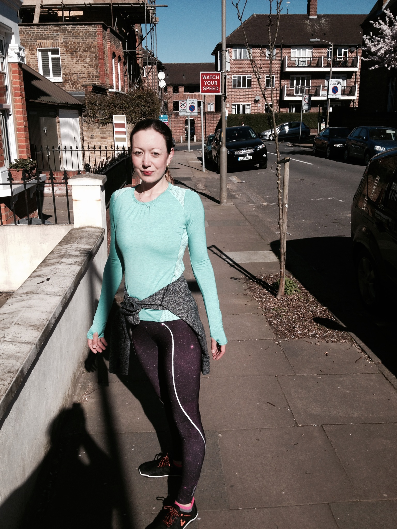 dressed like a pro in a lija runner's top for my first outdoor run