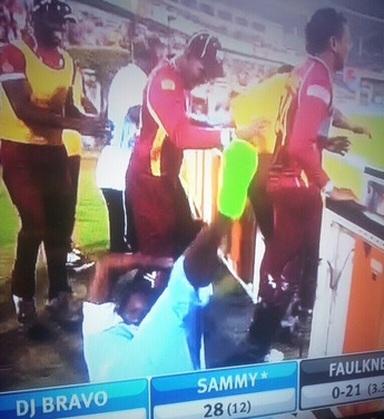 Chris Gayle's wild celebrations ended in failure (Picture: Sky Sports)