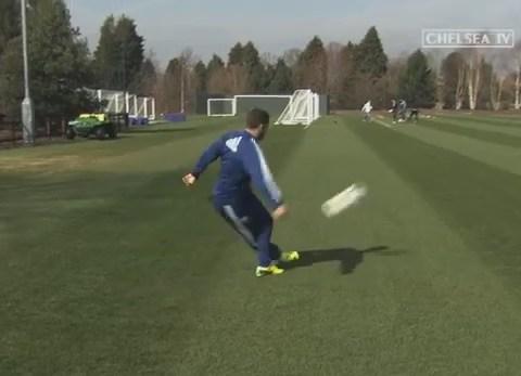 Eden Hazard recreates Fulham 'rabona' at Chelsea training ground