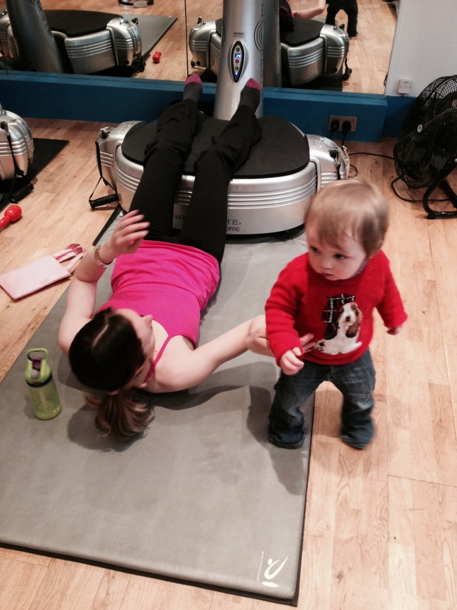 multitasking powertone workout with toddler in tow