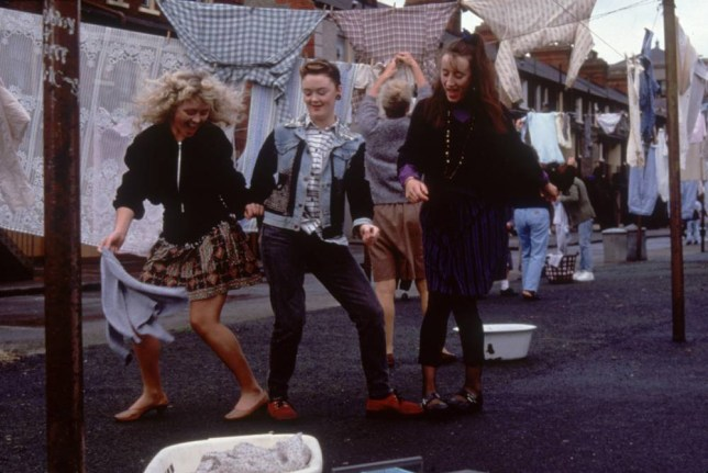 """Film 'THE COMMITMENTS' (1991) starring Angeline Ball as Imelda Quirke, (left) Bronagh Gallagher as Bernie McGloughlin, (centre) and Maria Doyle Kennedy (right) as Natalie Murphy. The Commitments is a 1991 film adaptation of the novel of the same name by Roddy Doyle, which tells the story of some unemployed Dubliners who form a soul band. It was directed by Alan Parker from a screenplay adapted by Dick Clement, Ian Le Frenais and Doyle himself. The film was an international co-production between companies in Ireland, the UK and the USA. The Commitments stars Robert Arkins as Jimmy Rabbitte, Johnny Murphy as Joey """"The Lips"""" Fagan, and Colm Meaney as Jimmy Rabbitte Sr. The members of the band are played by Michael Aherne, Angeline Ball, Maria Doyle, Dave Finnegan, Bronagh Gallagher, Félim Gormley, Glen Hansard, Dick Massey, Kenneth McCluskey, and Andrew Strong as Deco. The film was very successful at the box office and introduced a new generation to rhythm and blues, much as The Blues Brothers had in the 1980s. Jimmy Rabbitte aspires to be the manager of the world's greatest rock 'n' roll band, with only one kind of music in mind: soul. Disgusted with the current state of bands in Ireland, he decides to assemble an old school Dublin soul band in the tradition of greats like Otis Redding, Aretha Franklin and Wilson Pickett. Jimmy holds auditions at his parents' house and soon assembles his group of young musicians. With the help of Joey """"The Lips"""" Fagan, the only veteran musician in the band, Jimmy begins to whip the rest of the members into stage-ready shape - only to have the group fall apart due to a clash of egos.  0000c2e5.jpg"""