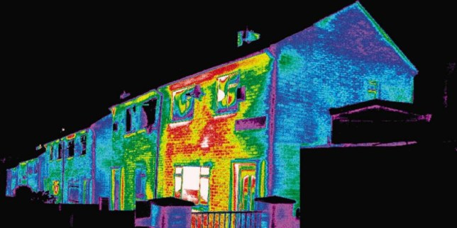 The white, red and yellow areas of this house lose the most heat (Picture: Home Heat Helpline/PA Wire)