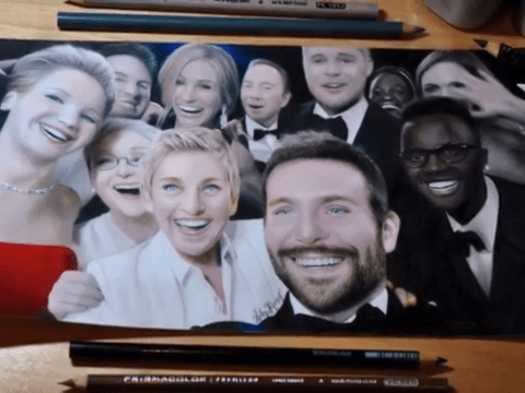 This is not a photo of the Oscars selfie: Artist Heather Rooney creates photo-realistic drawing of famous selfie