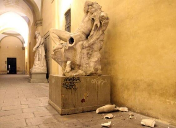 Oh dear... luckily - for the culprit - the incident was not caught on CCTV (Picture: Twitter/@erpugileromano)