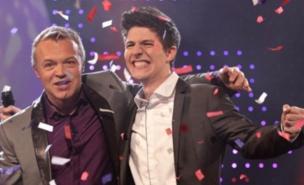 UK Eurovision entrant Josh Dubovie with Graham Norton (PA)