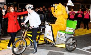 Matt Baker was greeted by Alex Jones after his rickshaw challenge (PA)