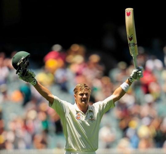 Shane Watson celebrates his Test ton