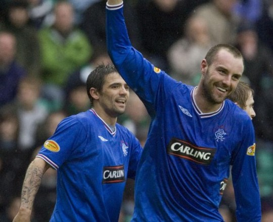 Kris Boyd celebrates after scoring for Rangers in the 4-1 win at Hibs
