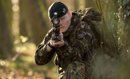 On target: A soldier tests the new Sharpshooter rifle