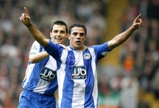 Wigan Athletic's Amr Zaki celebrates scoring for Wigan