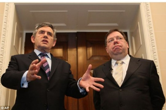 British Prime Minister Gordon Brown, left, and his Irish counterpart Brian Cowen, right, speak to the media at a  press conference at Hillsborough Castle, Northern Ireland