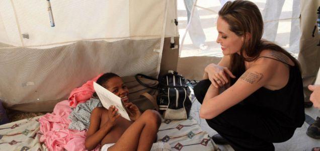 Angelina Jolie visits a paediatric ward in Haiti