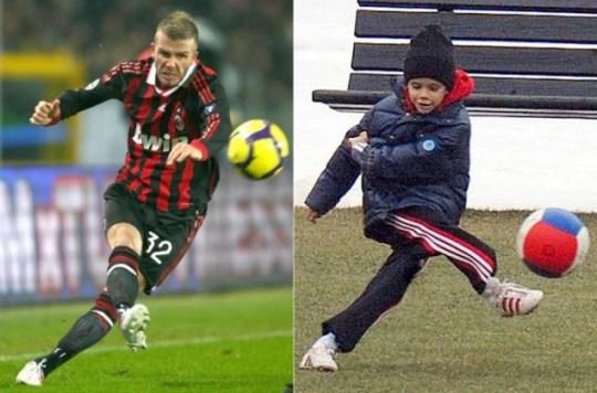 David Beckham takes on Juventus, left, while son Rome has a kick-around at the AC Milan training ground