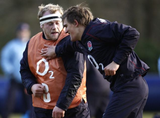 Dan the man: England new boy Cole in training with Toby Flood yesterday