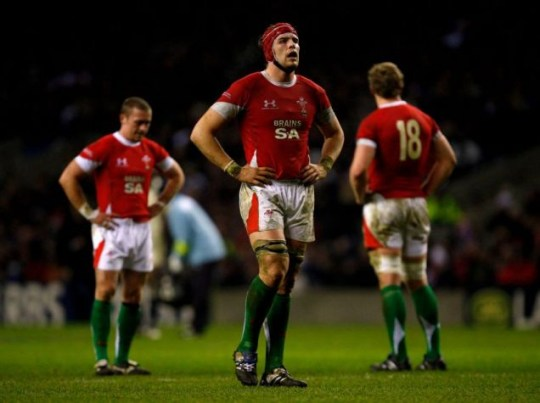 LONDON, ENGLAND - FEBRUARY 06:  Alun Wyn Jones of Wales looks disconsolate following defeat during the RBS 6 Nations Championship match between England and Wales at Twickenham Stadium on February 6, 2010 in London, England.  (Photo by Stu Forster/Getty Images)