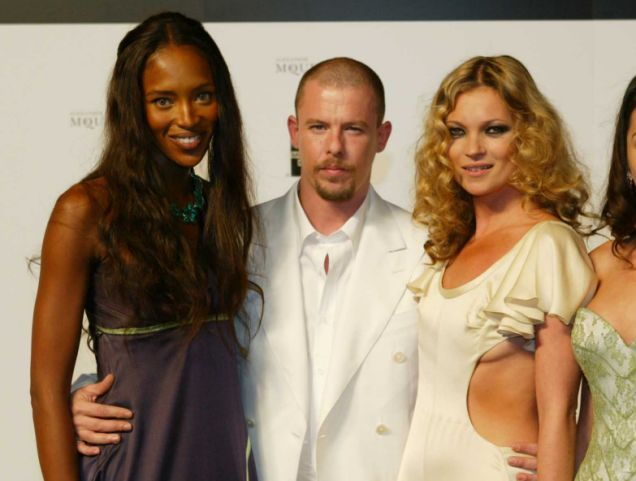 Close friends: Naomi Campbell, Kate Moss and Alexander McQueen