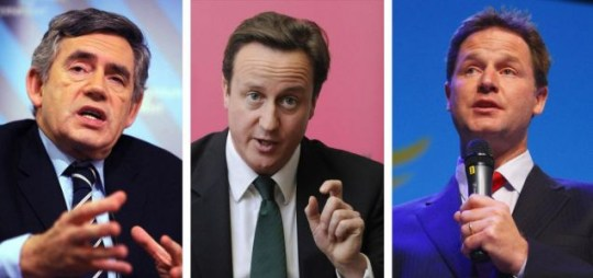 Party leaders David Cameron, Gordon Brown and Nick Clegg.