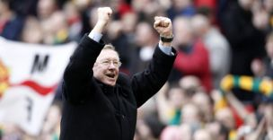 Manchester United manager Sir Alex Ferguson celebrates a win over Liverpool at Old Trafford
