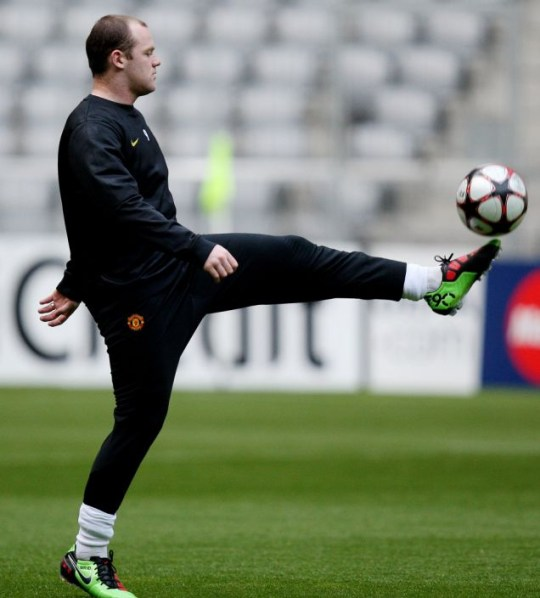 Manchester United's Wayne Rooney during training at the Allianz Arena
