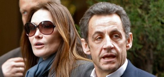 French president Nicolas Sarkozy, right, and his wife Carla Bruni