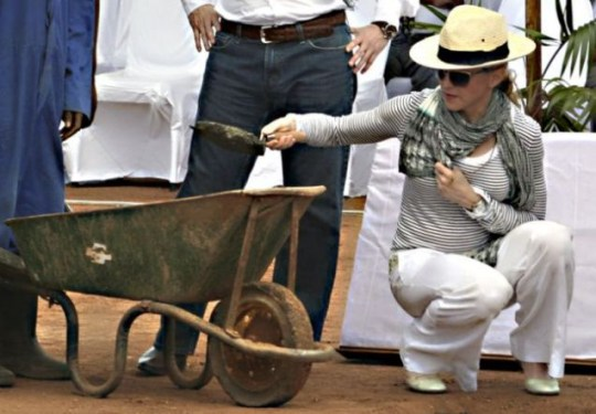 Madonna lends a hand to help build a girls' school in Malawi