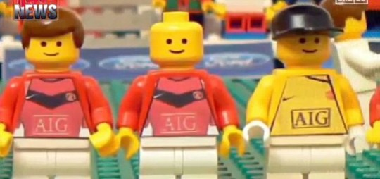 Manchester United Lego players line-up before the Bayern Munich game