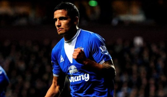 Tim Cahill celebrates his opening goal for Everton against Aston Villa