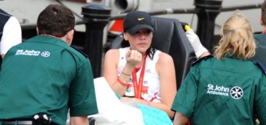 All over: Singer and model Michelle Heaton was one of many treated at the London Marathon finish line (Picture: Snappers)