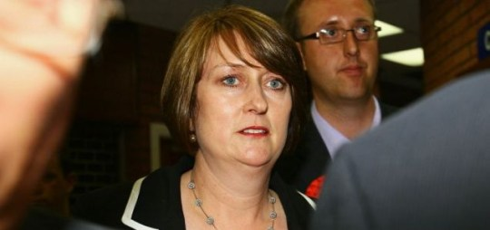 Jacqui Smith of Labour looks on after losing her seat to Karen Lumley of the Conservatives