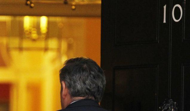 Prime Minister Gordon Brown arrives in Downing Street