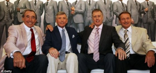 Blazer glory: From left, heroes of '66 Gordon Banks, Martin Peters, Sir Geoff Hurst and Roger Hunt at the launch of England's official suit