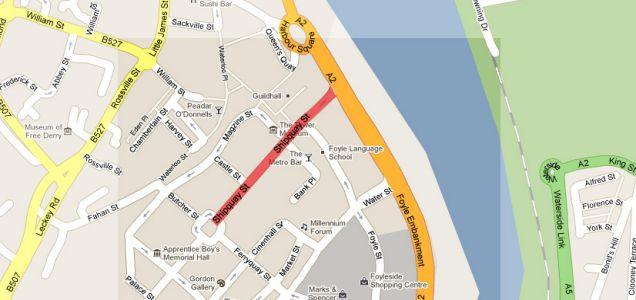 Londonderry Northern Ireland Shipquay Street bomb explodes building society Diamond area city cente