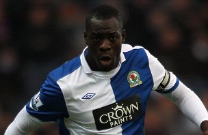 Christopher Samba of Blackburn in action during against West Ham United at Ewood Park