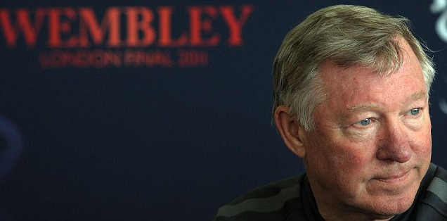 Manchester United manager Sir Alex Ferguson addresses a press conference ahead of the Champions League final